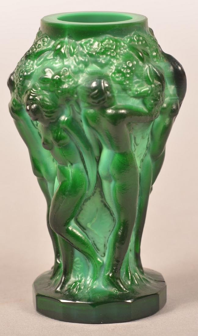 Lalique Malachite Glass Art Deco Vase. - 6