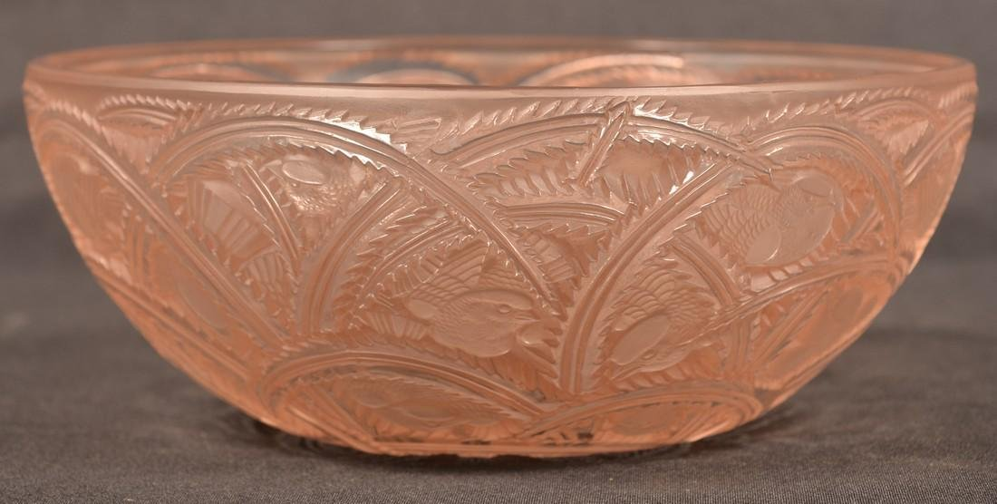 Lalique Gold Frosted Pinsons Pattern Bowl. - 3