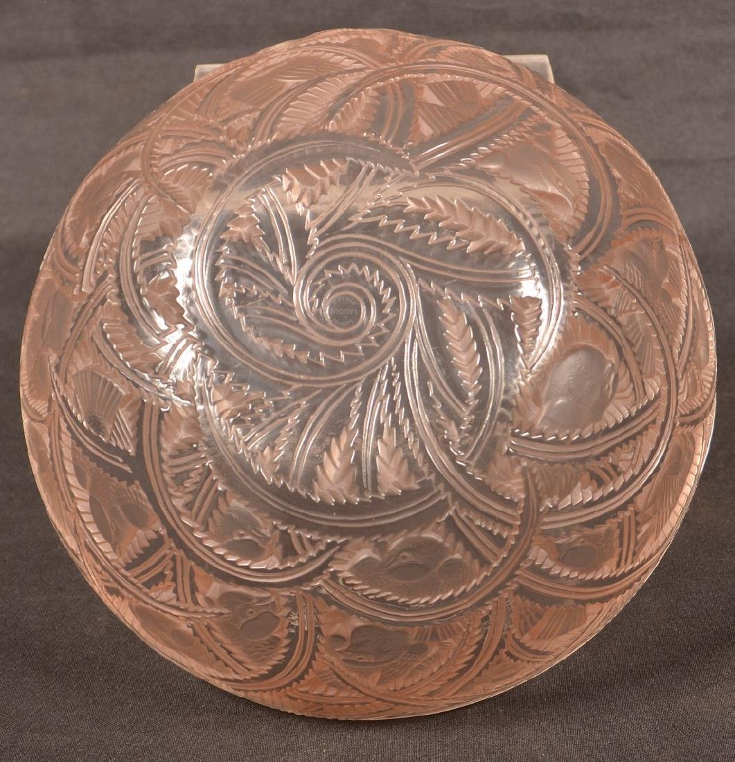 Lalique Gold Frosted Pinsons Pattern Bowl. - 5