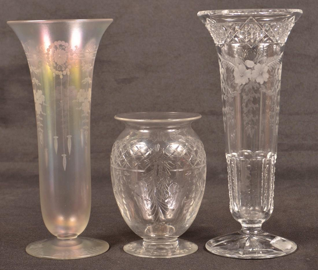 Three Various Signed Hawkes Glass Vases.