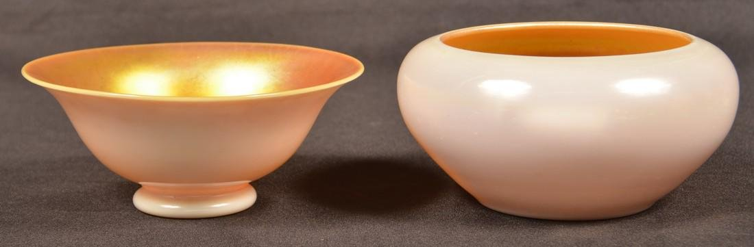 Two Aurene Calcite Bowls Attributed to Steuben.