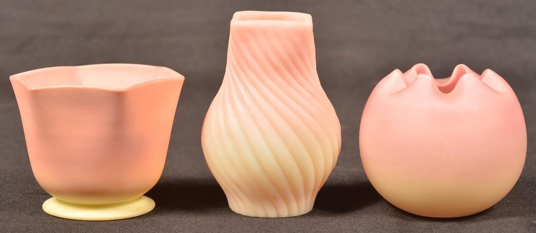 Three Pieces of Burmese Satin Art Glass.
