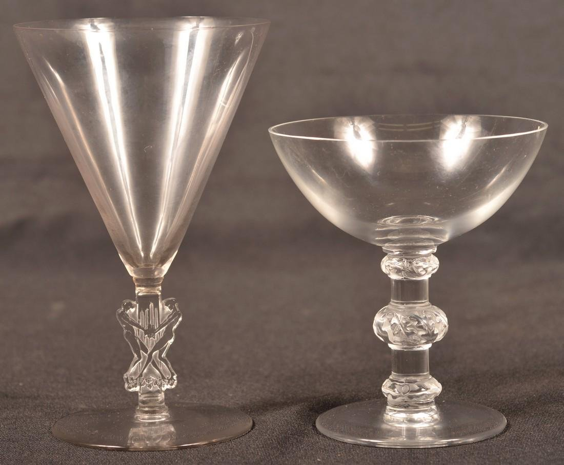 Two Pieces of Lalique Crystal Stemware.