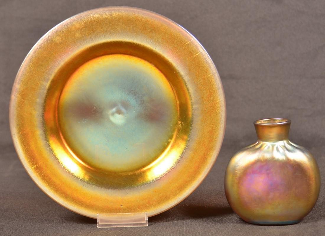 2 Pcs. of Aurene Art Glass Attributed to Steuben.