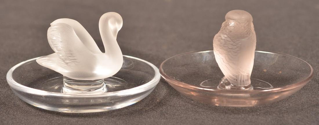 Two Lalique Frosted Crystal Figural Ring Caddie's. - 2