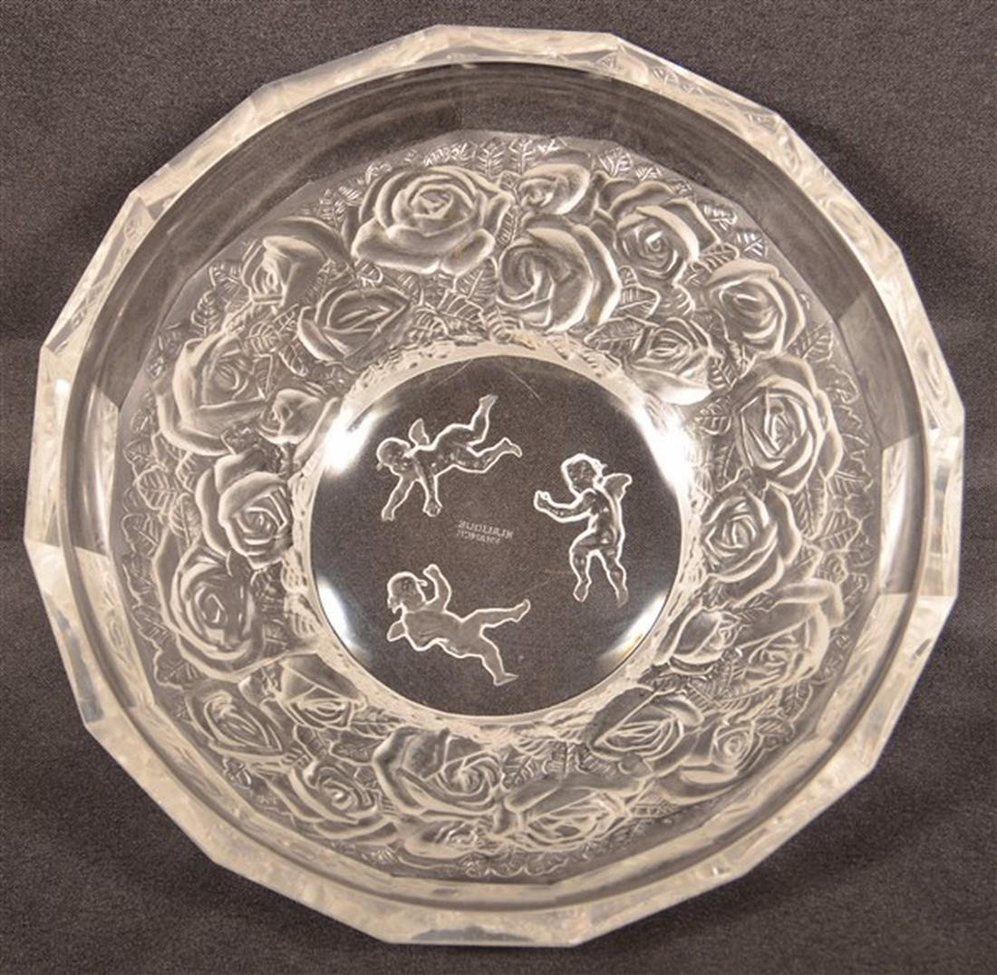 Lalique Cherub and Roses Crystal Bowl.