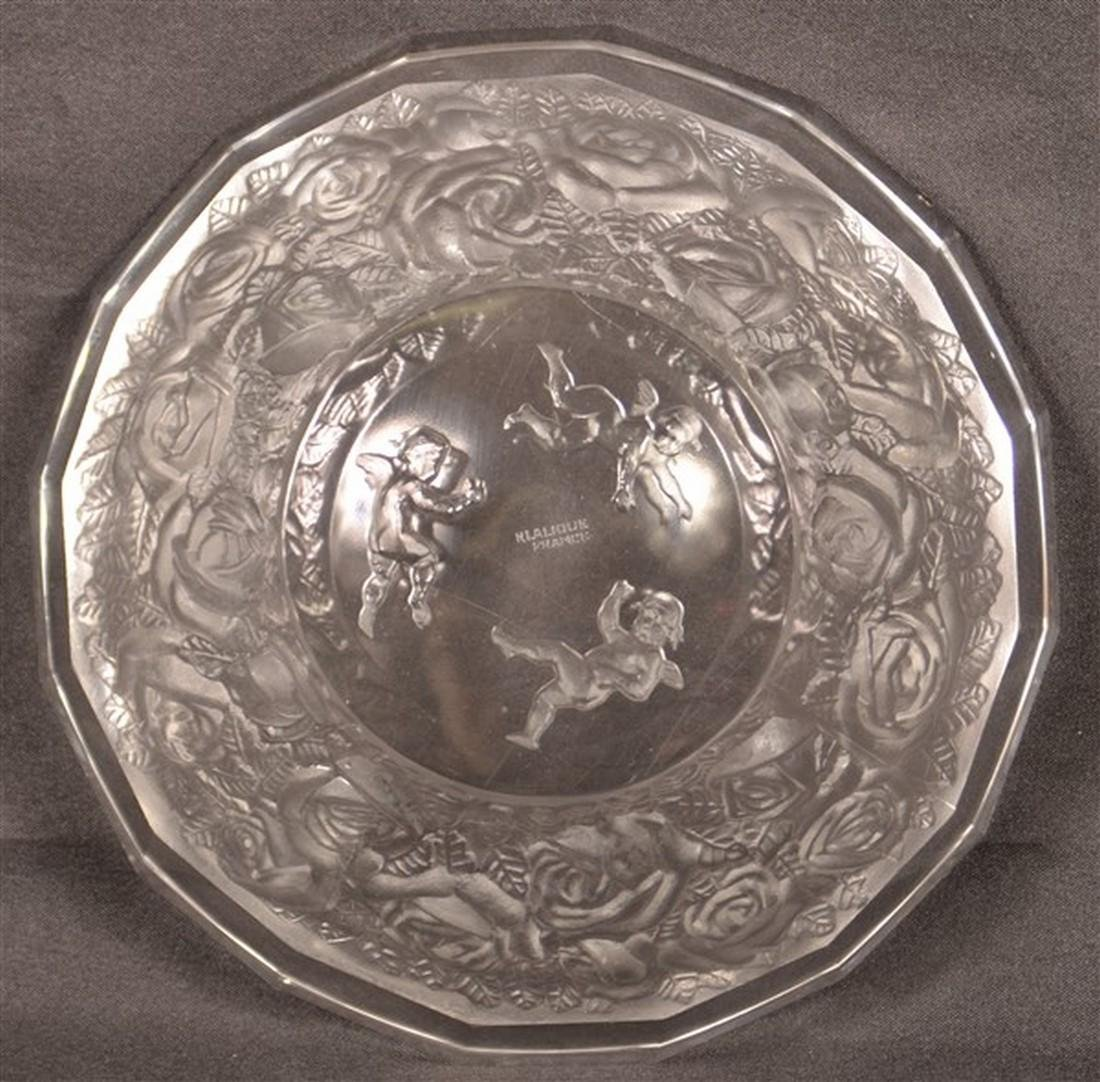Lalique Cherub and Roses Crystal Bowl. - 4
