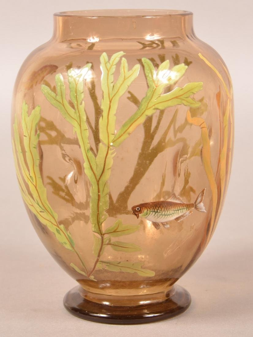 Moser Type Fish and Seaweed Enamel Vase.