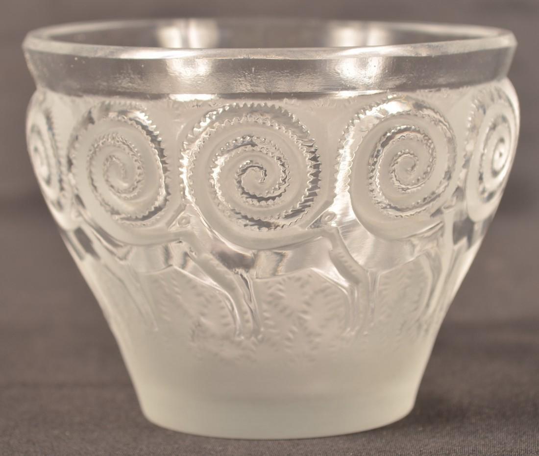 Lalique Art Deco Antelope Vase. - 4