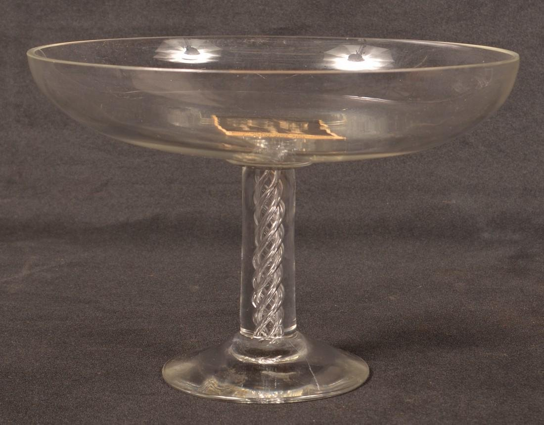 Colorless Glass Compote with Air Twist Stem.