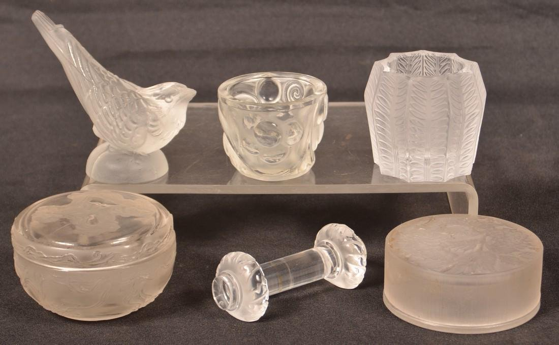 Six Various Pieces of Lalique Glass.