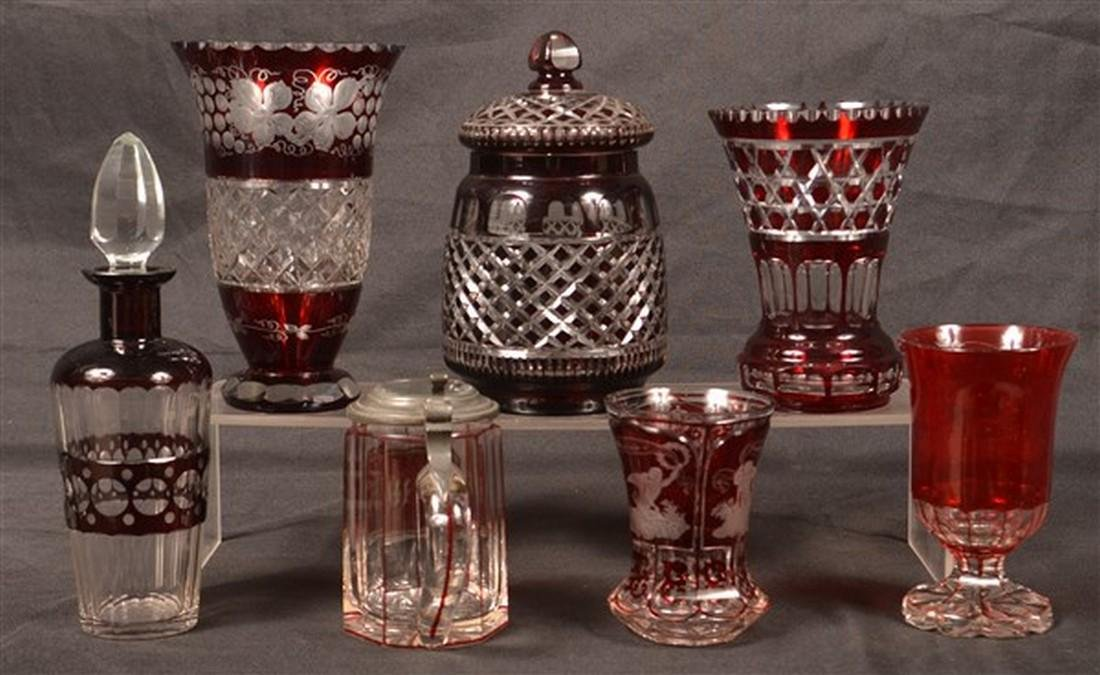 7 Pieces Bohemian of Ruby Cut to Clear Glass. - 2