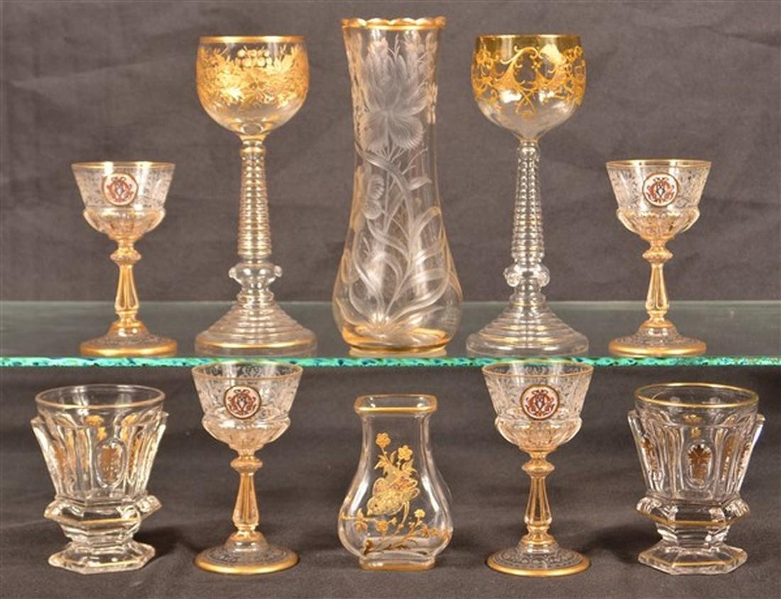 Ten Pieces of Gilt Decorated Colorless Glass.