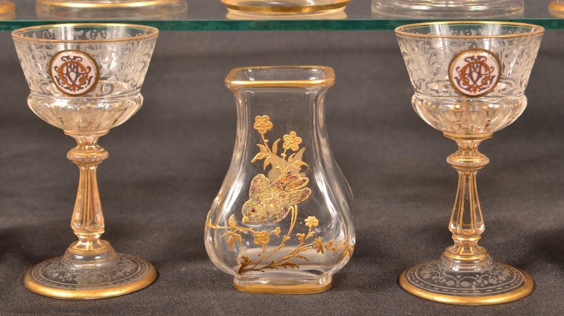 Ten Pieces of Gilt Decorated Colorless Glass. - 2