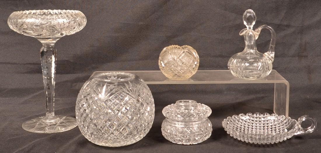 Six Various Pieces of American Brilliant Cut Glass.