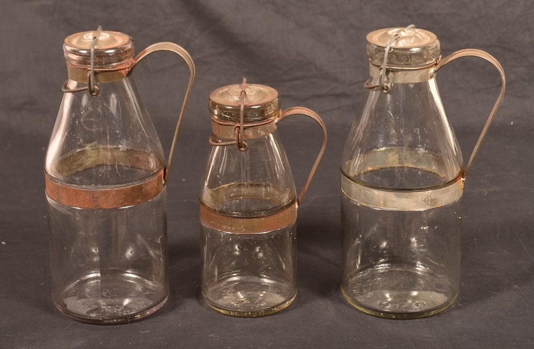 3 A.G. Smalley Tin Mounted Glass Milk Bottles. - 2