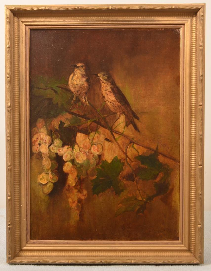 F.D. Devlan Oil on Canvas Birds on Grape Vines.
