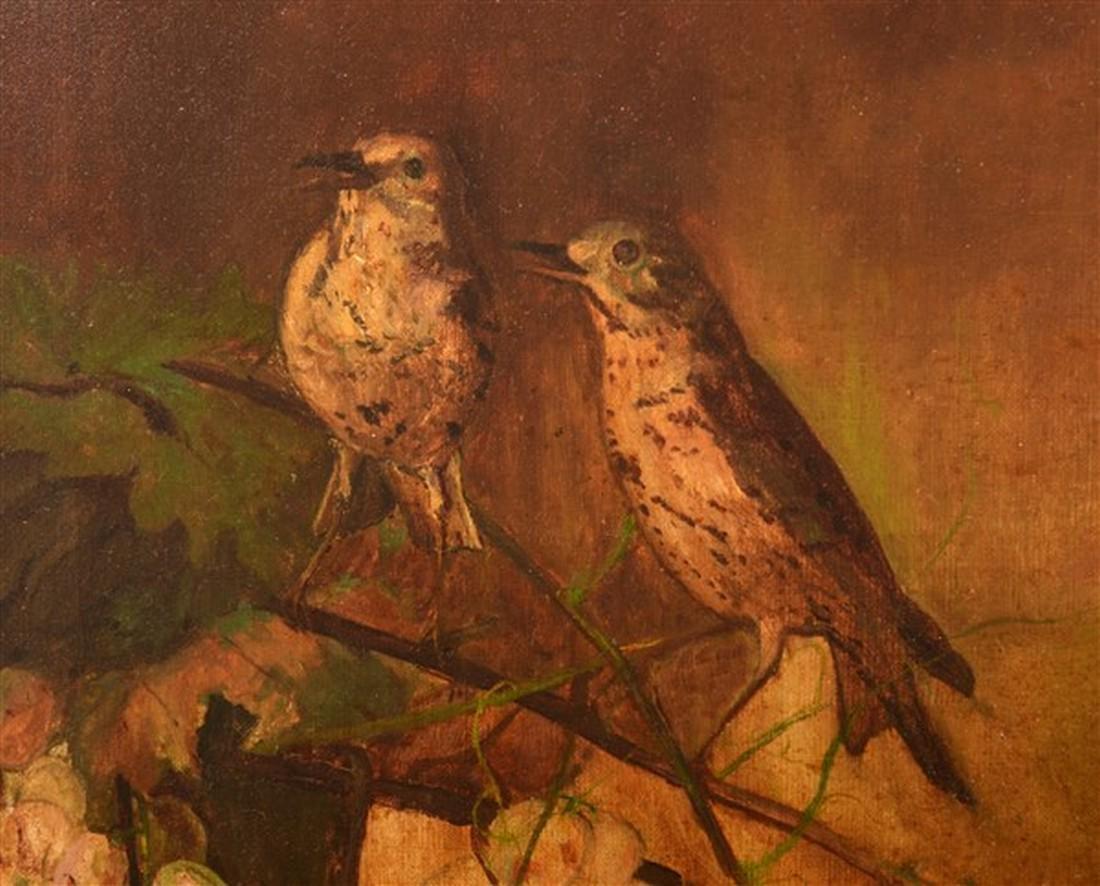 F.D. Devlan Oil on Canvas Birds on Grape Vines. - 2