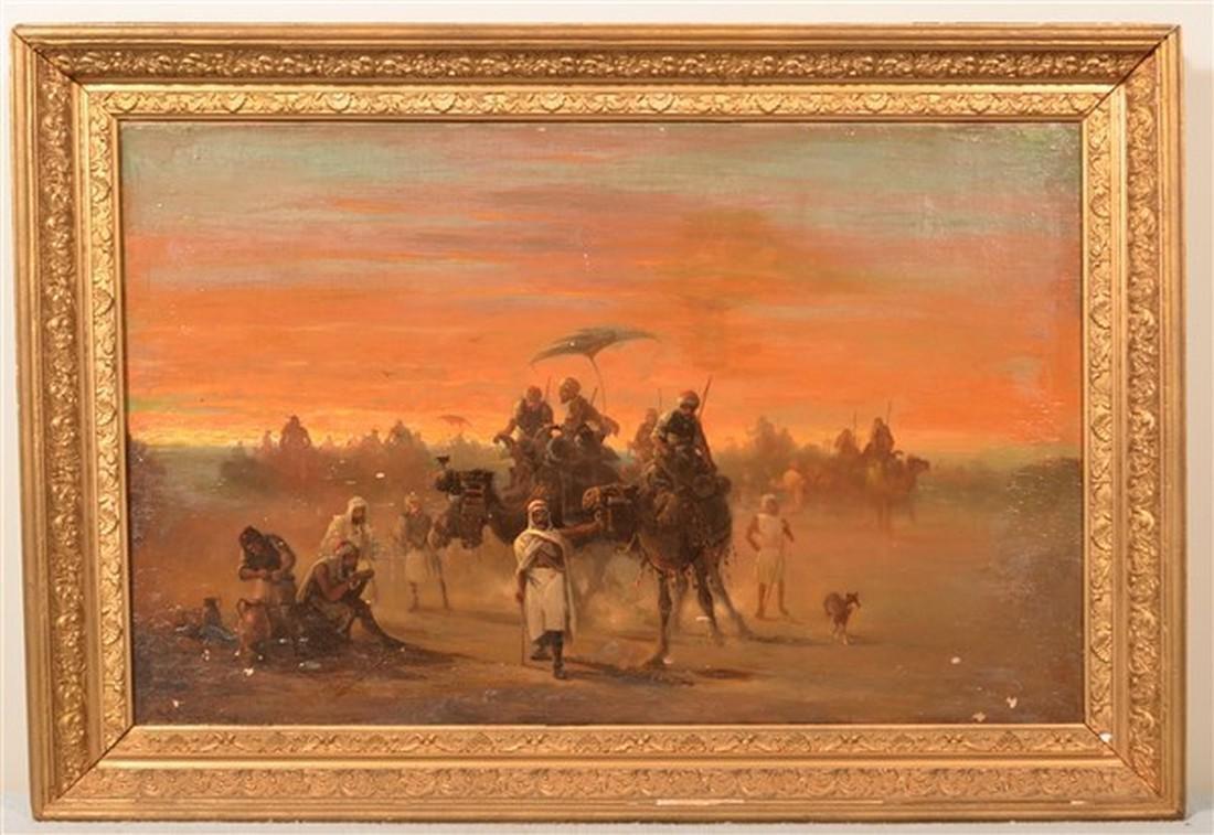 E. Zamacois Orientalist Scene Oil on Canvas.