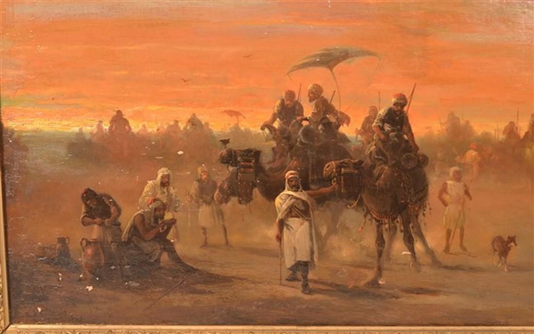 E. Zamacois Orientalist Scene Oil on Canvas. - 2