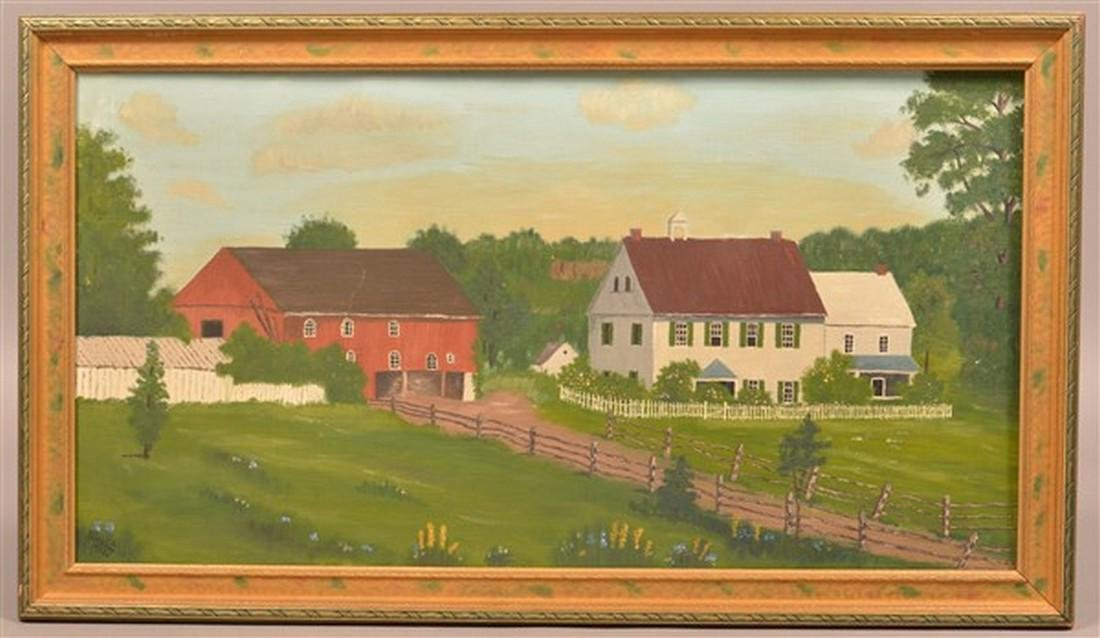 D. Landis 1933 Oil on Canvas Farmstead Scene.