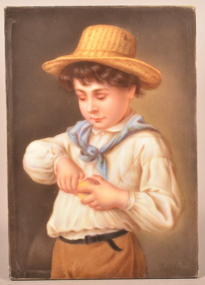 German KPM Type Painted Porcelain Plaque.