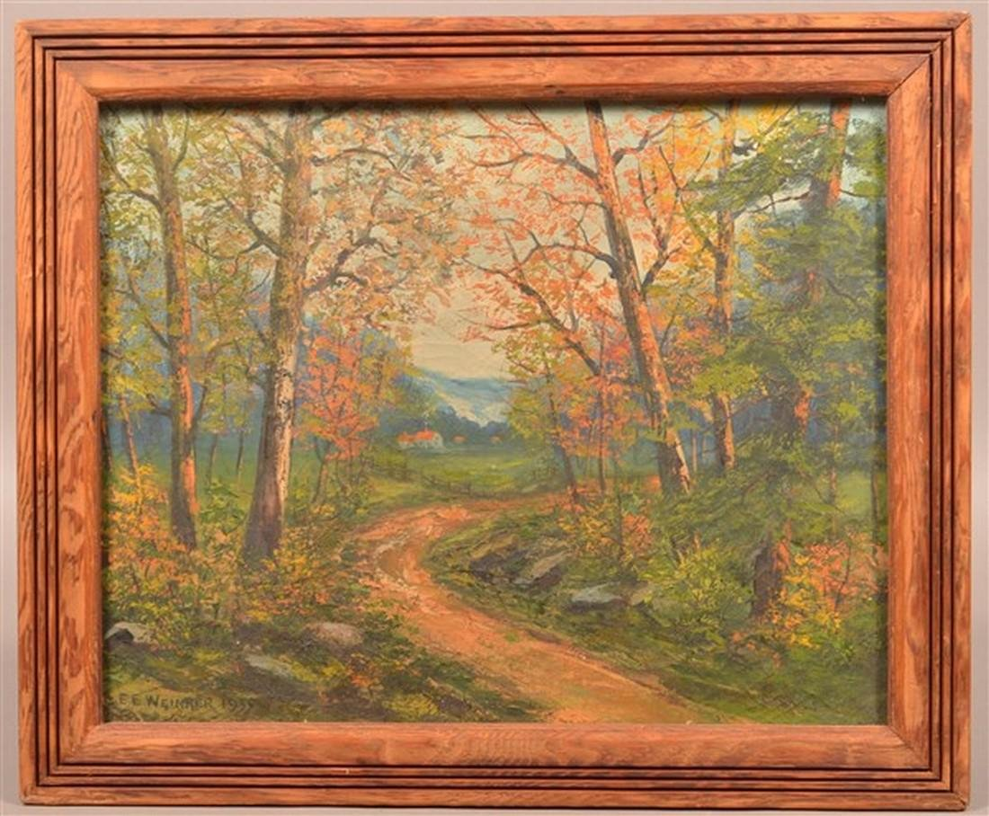 E.E. Weimrer  Oil on Canvas Landscape Painting.