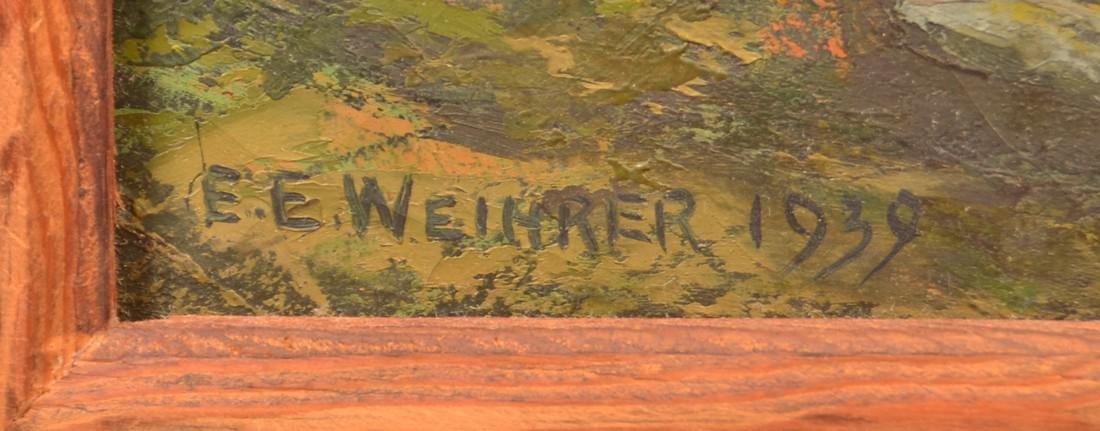 E.E. Weimrer  Oil on Canvas Landscape Painting. - 2
