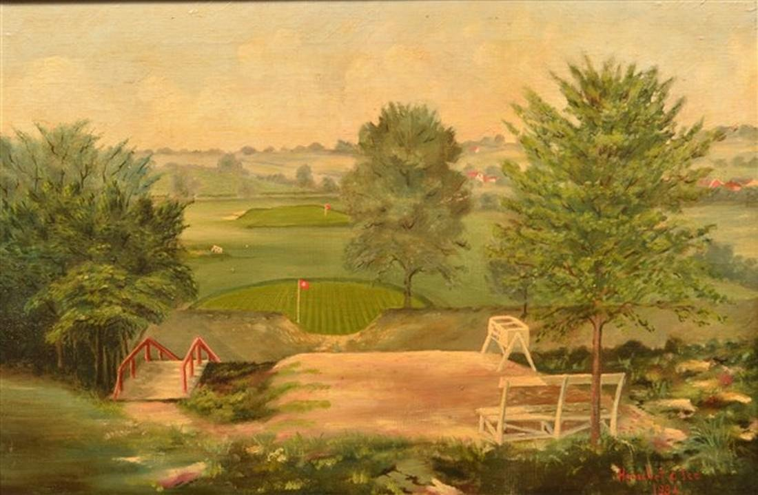 Herschel Ice Oil on Canvas Golf Course Painting. - 2