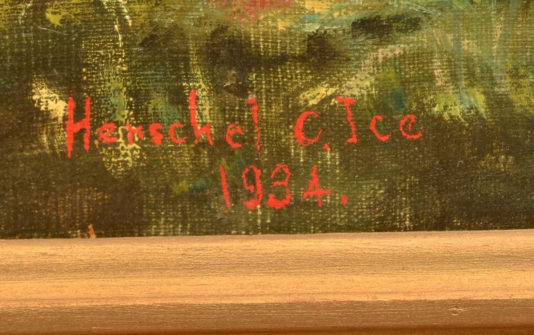 Herschel Ice Oil on Canvas Golf Course Painting. - 3