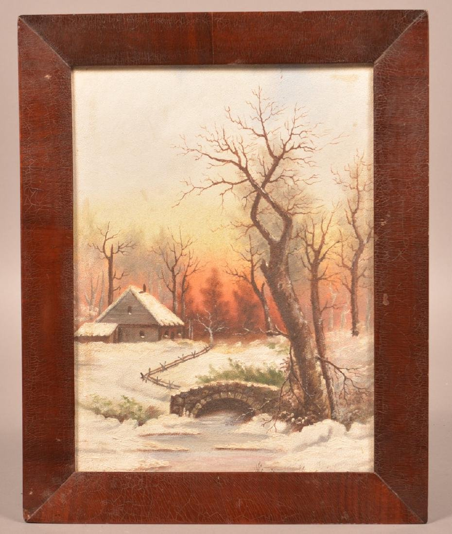 Oil on Artist Board Winter Landscape Painting.
