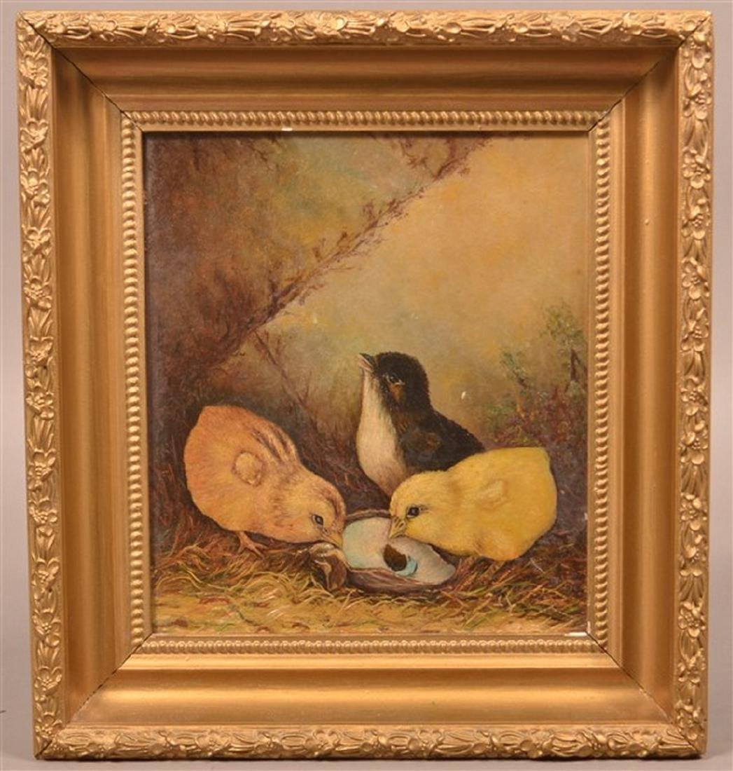 Three Chicks Oil on Artist Board Painting.