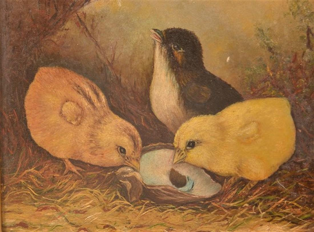 Three Chicks Oil on Artist Board Painting. - 2