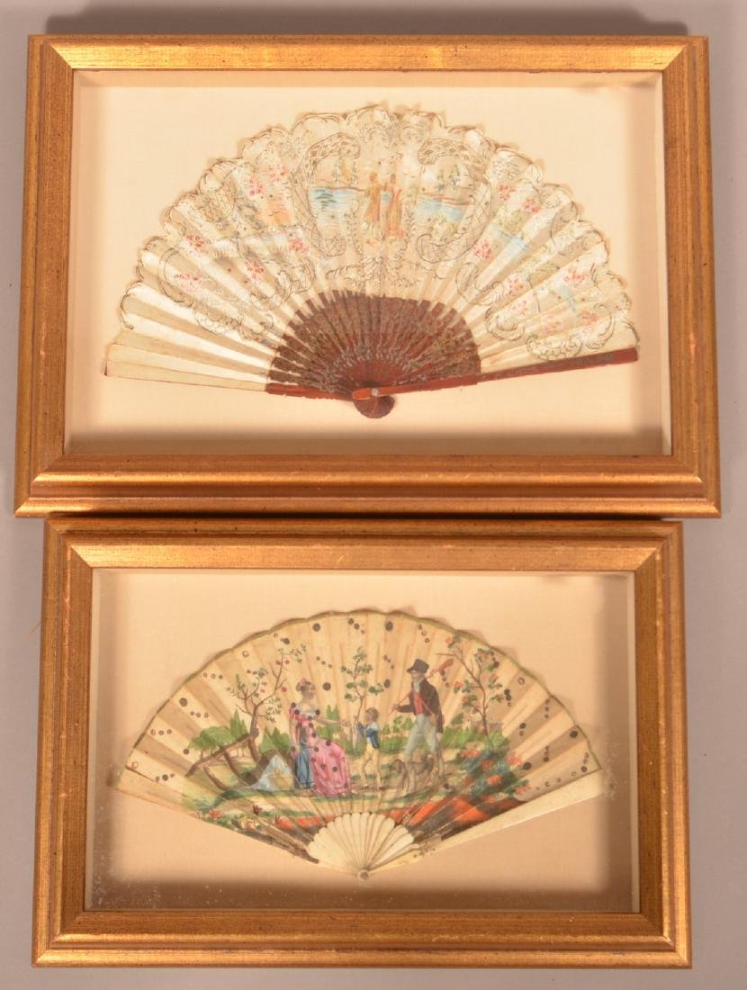 2 Antique Painted Fans in Shadow Box Frames.