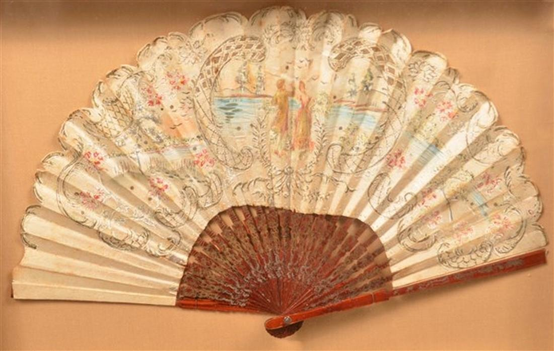 2 Antique Painted Fans in Shadow Box Frames. - 4