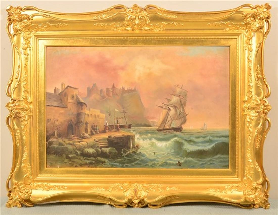 Oil on Canvas Pan-European Seascape Painting.