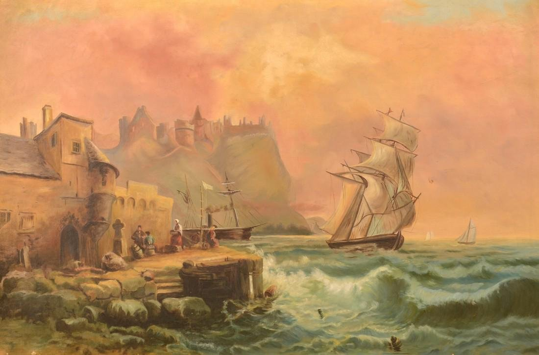 Oil on Canvas Pan-European Seascape Painting. - 2