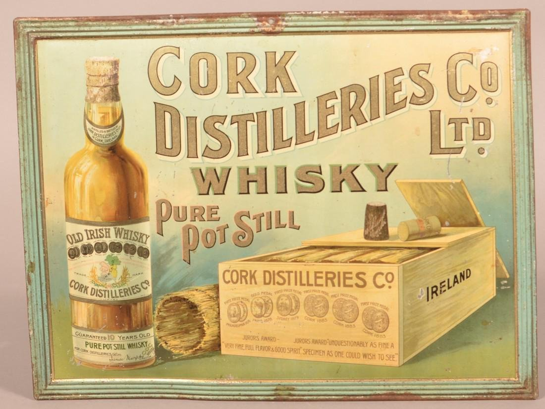 Cork Distilleries Co. Tin Litho. Advertising Sign.