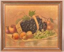 Antique Oil on Canvas Fruit Still Life Painting.