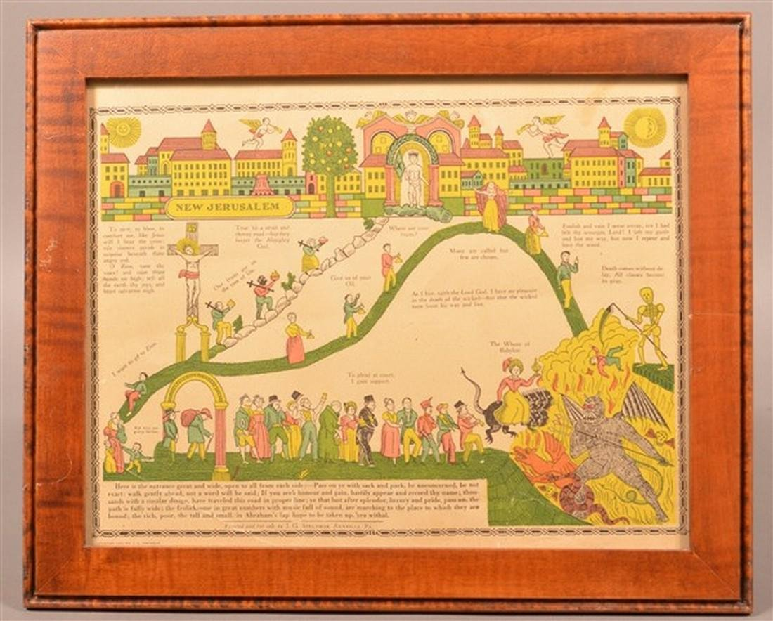 Life of New Jerusalem Hand Colored Print.