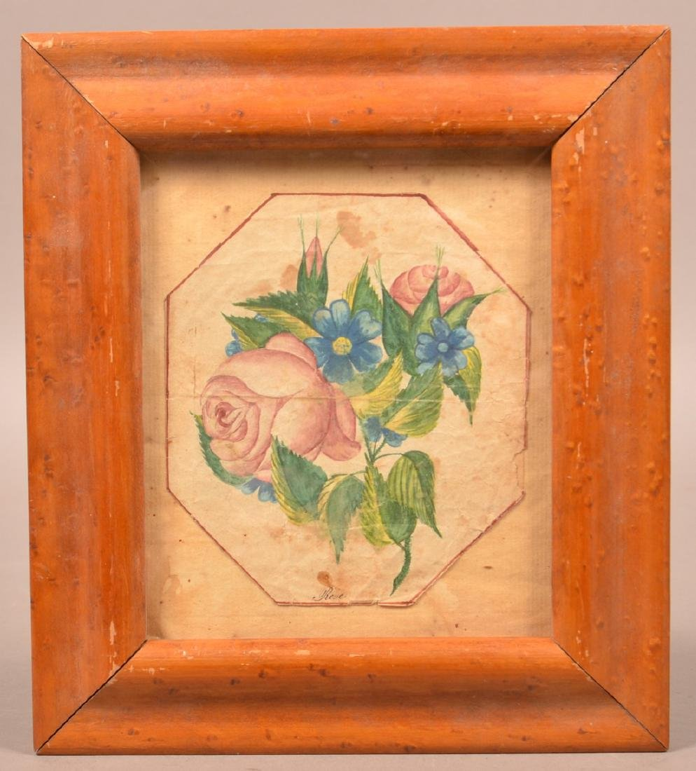 Early 19th century Floral Watercolor Drawing.