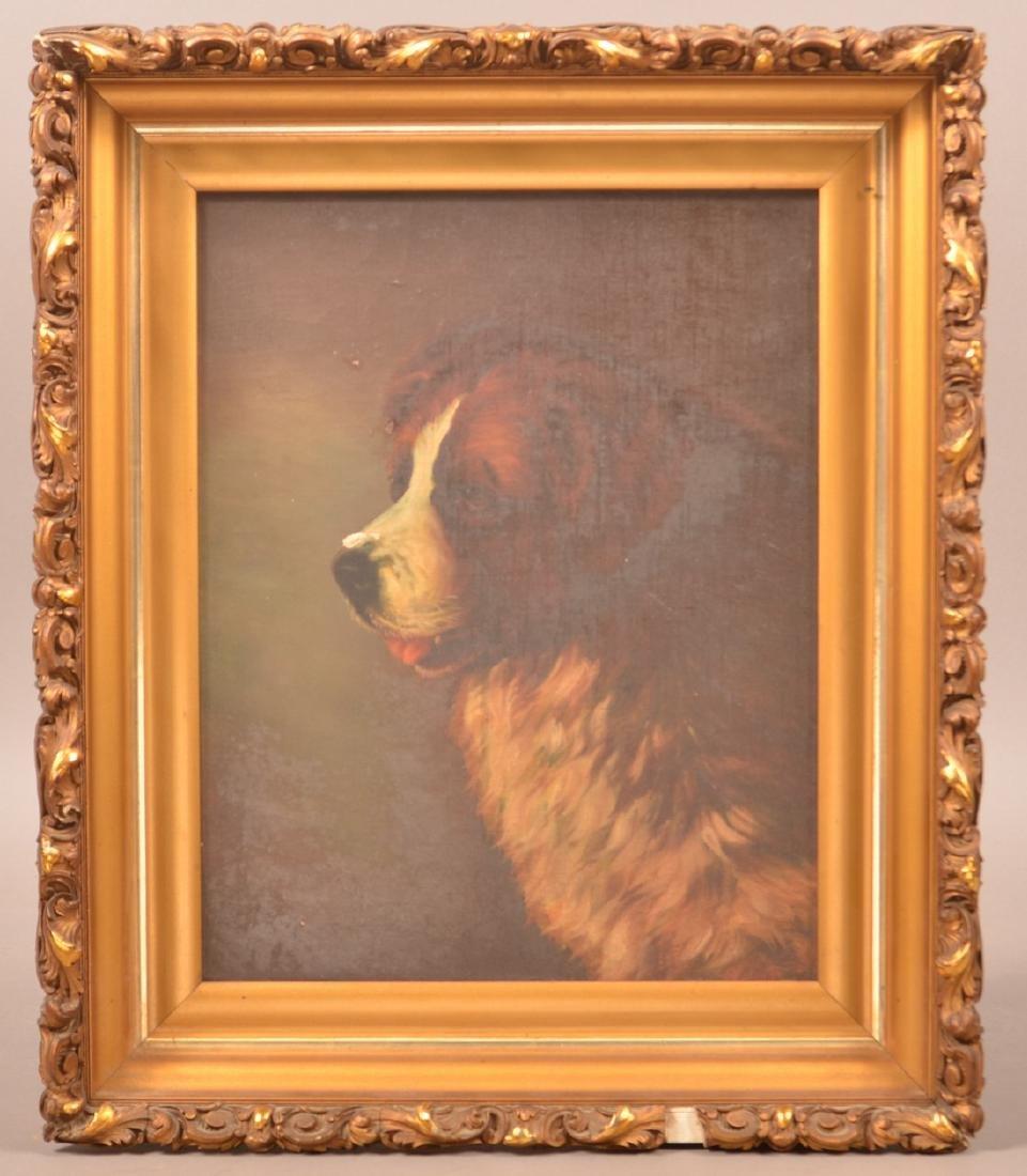 Oil on Canvas Saint Bernard Painting.