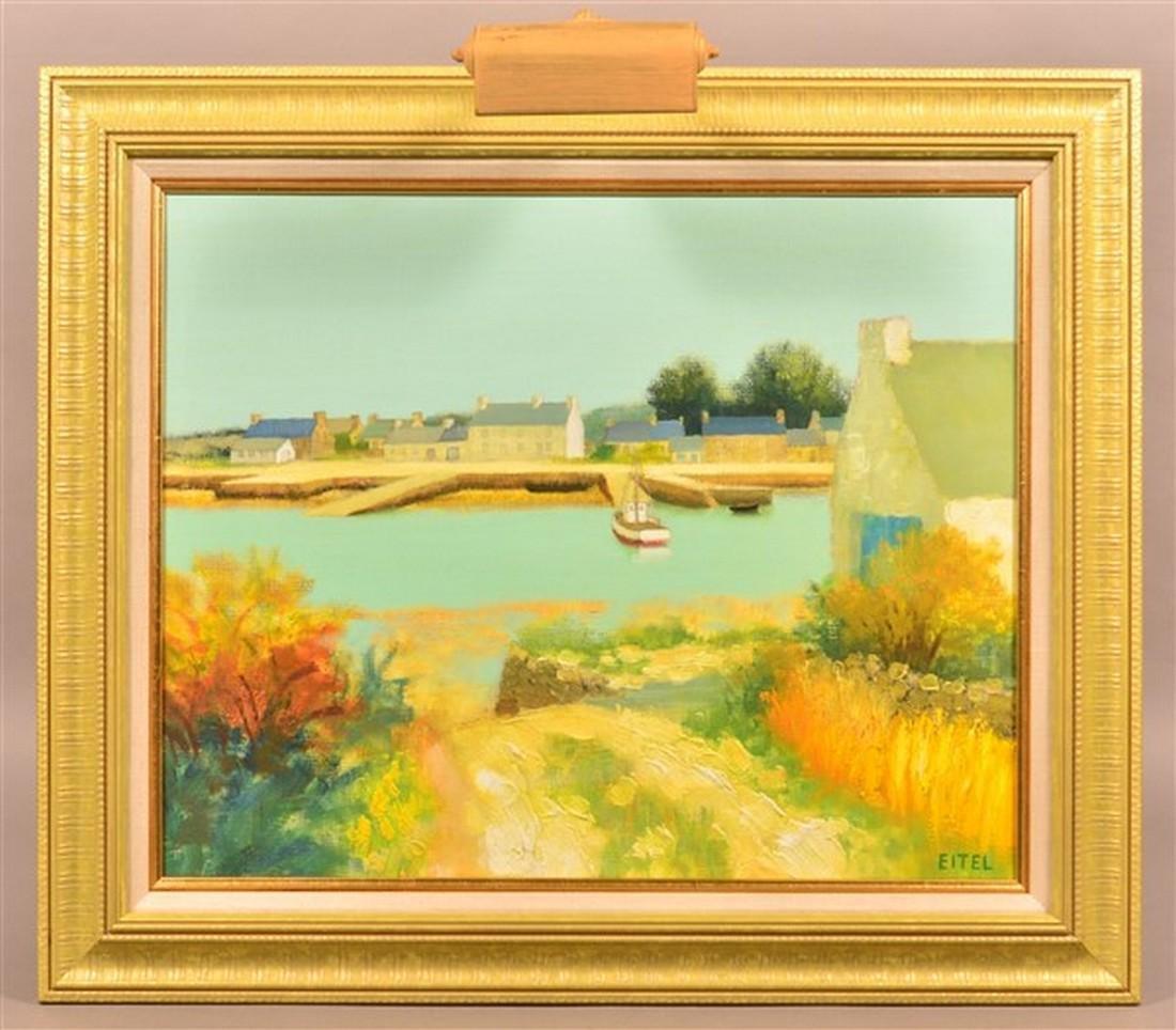 Jacques Eitel Oil on Canvas Landscape Painting.