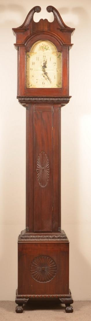 Chippendale Style Mahogany Tall Case Clock.