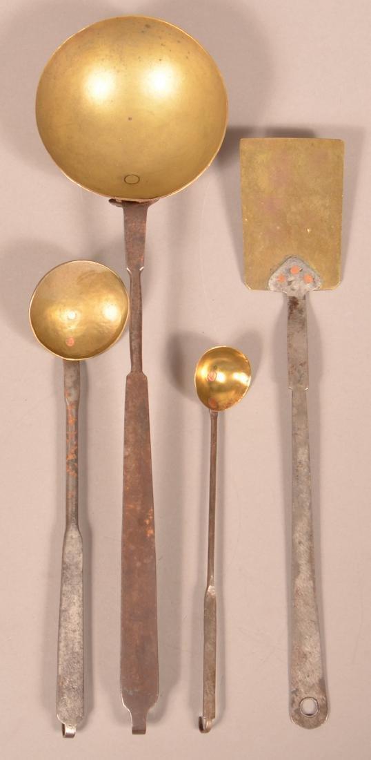 Four 19th Century Wrought Iron & Brass Utensils.