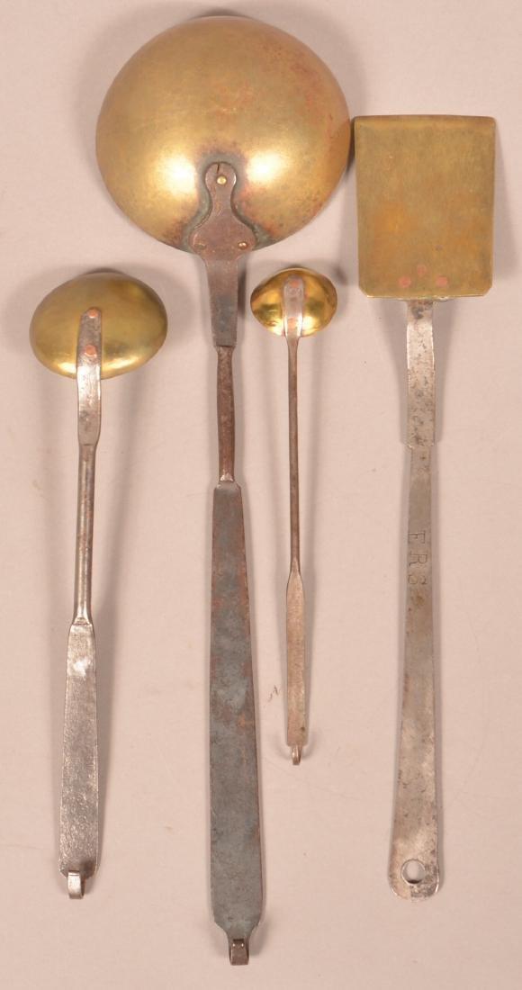 Four 19th Century Wrought Iron & Brass Utensils. - 2