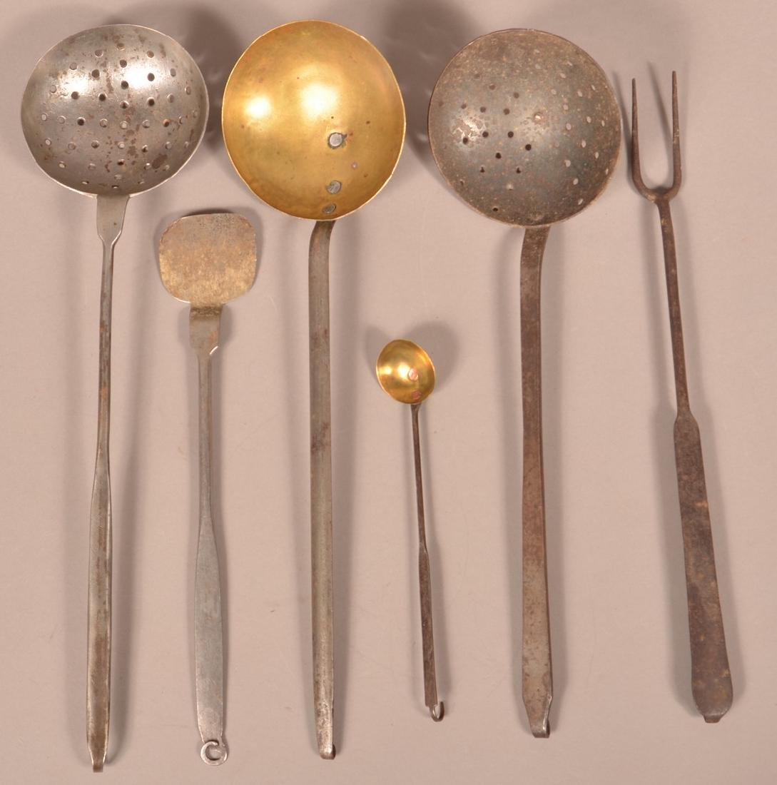Six 19th Century Wrought Iron Utensils.