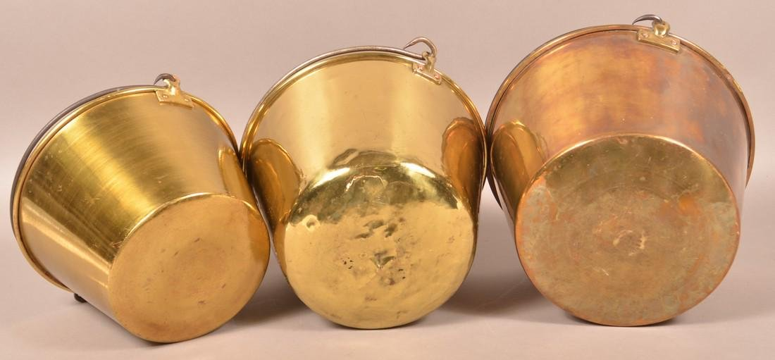 Three Antique Brass Pails with Iron Bail Handles. - 2