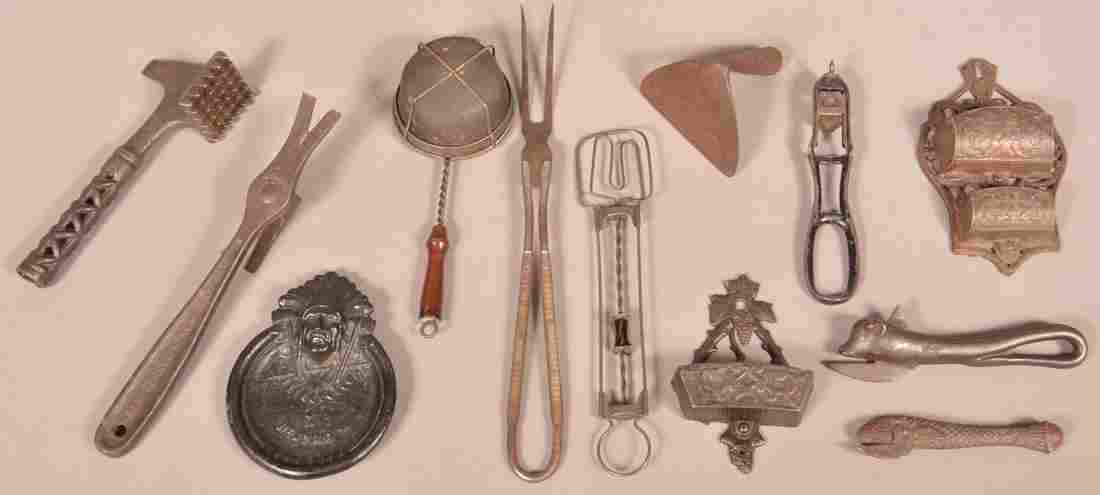 12 Pieces of Antique Metal Utilitarian Wares.