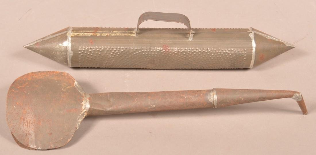 Antique Tin Bed Smoother and Hearing Aid.
